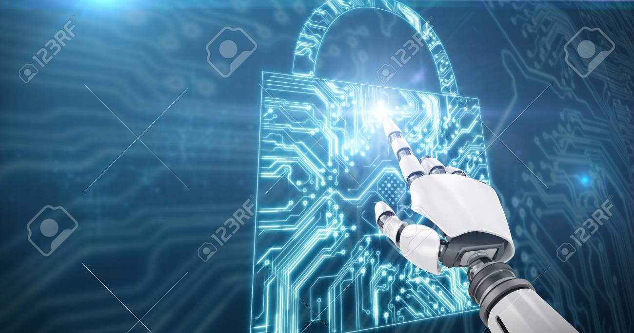 White Robot Arm Pointing At Something Against Lock Shape Circuit Board Stock Photo