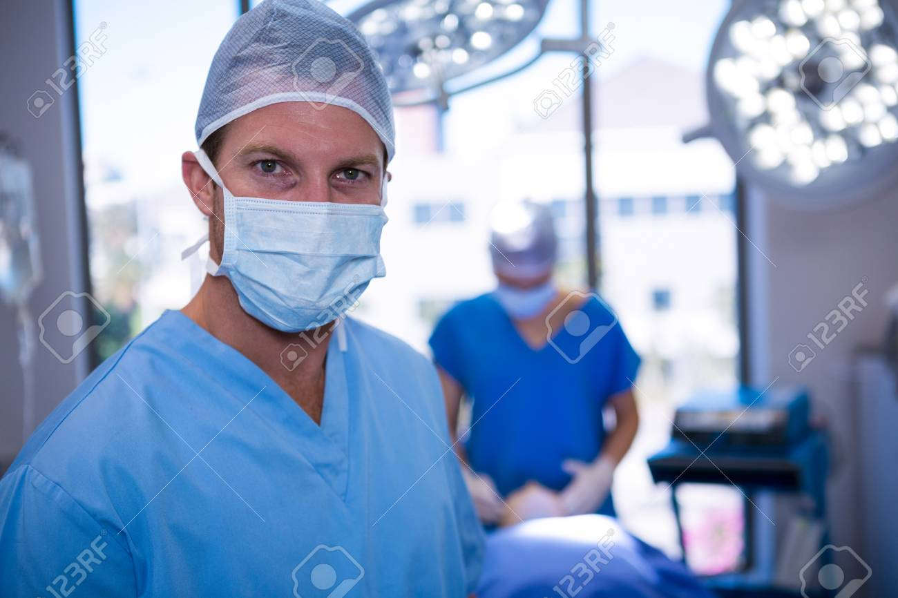 Theater Portrait Male Wearing Surgical Mask Operation In Nurse Of