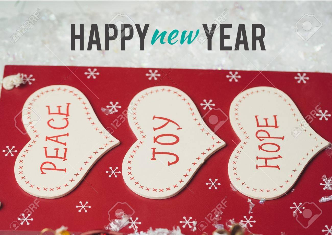 Frohes Neues Jahr Wünscht Mit Nachricht Des Friedens, Der Freude Und ...