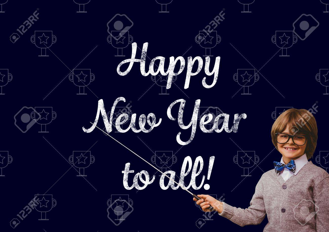 Portrait Of Smiling Boy Pointing With Stick At New Year Greeting