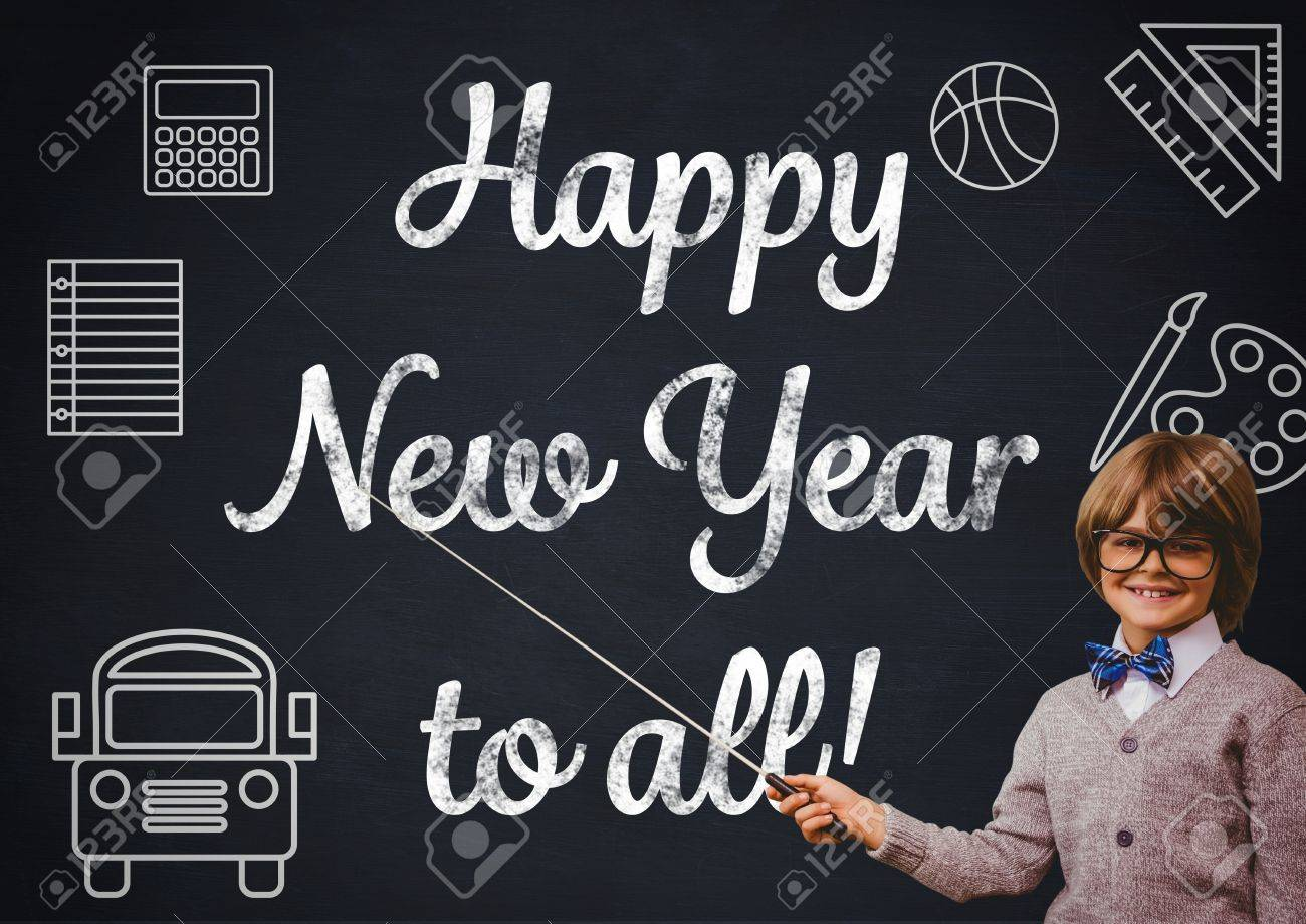 Portrait of smiling boy pointing with stick at new year greeting portrait of smiling boy pointing with stick at new year greeting quotes stock photo 66772880 m4hsunfo