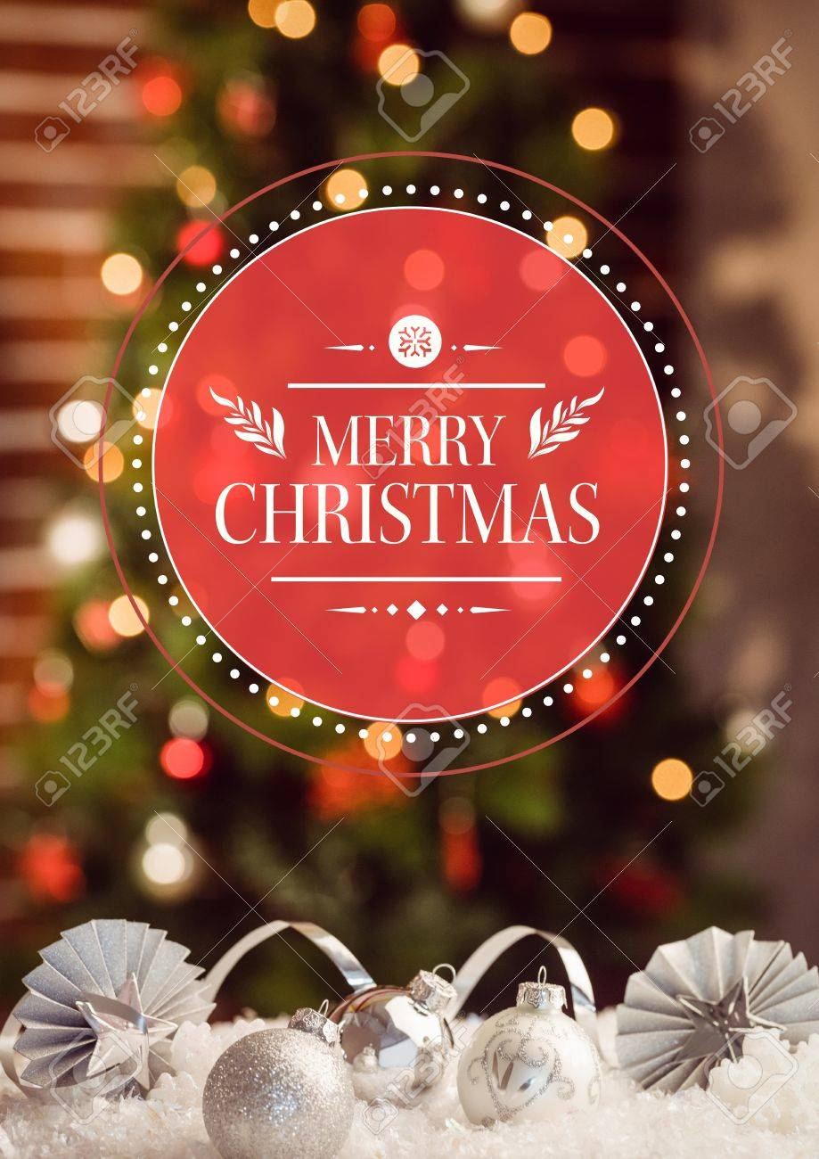 Composite image of merry christmas greetings with silver christmas composite image of merry christmas greetings with silver christmas baubles against bokeh lights stock photo kristyandbryce Image collections