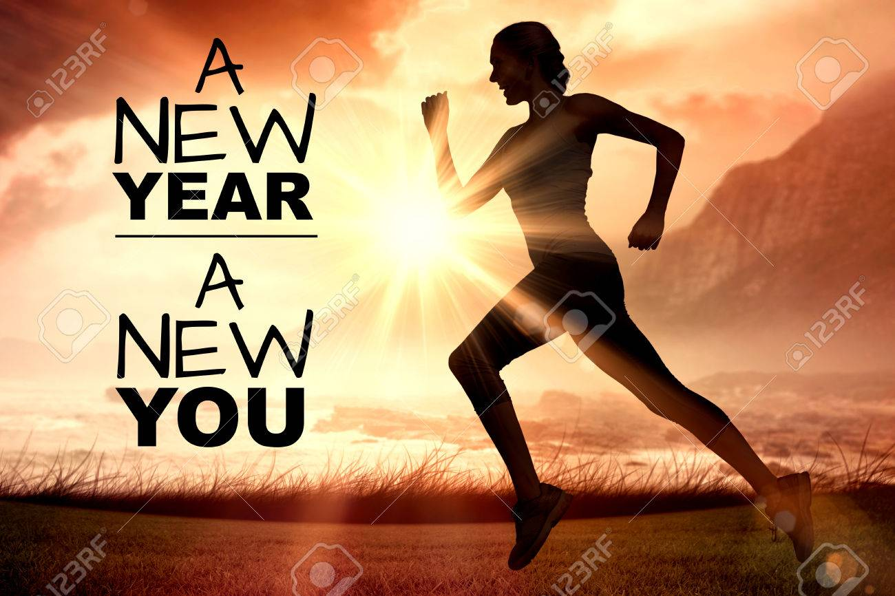 New year new you against side view of silhouette woman running Banque d'images - 67354601