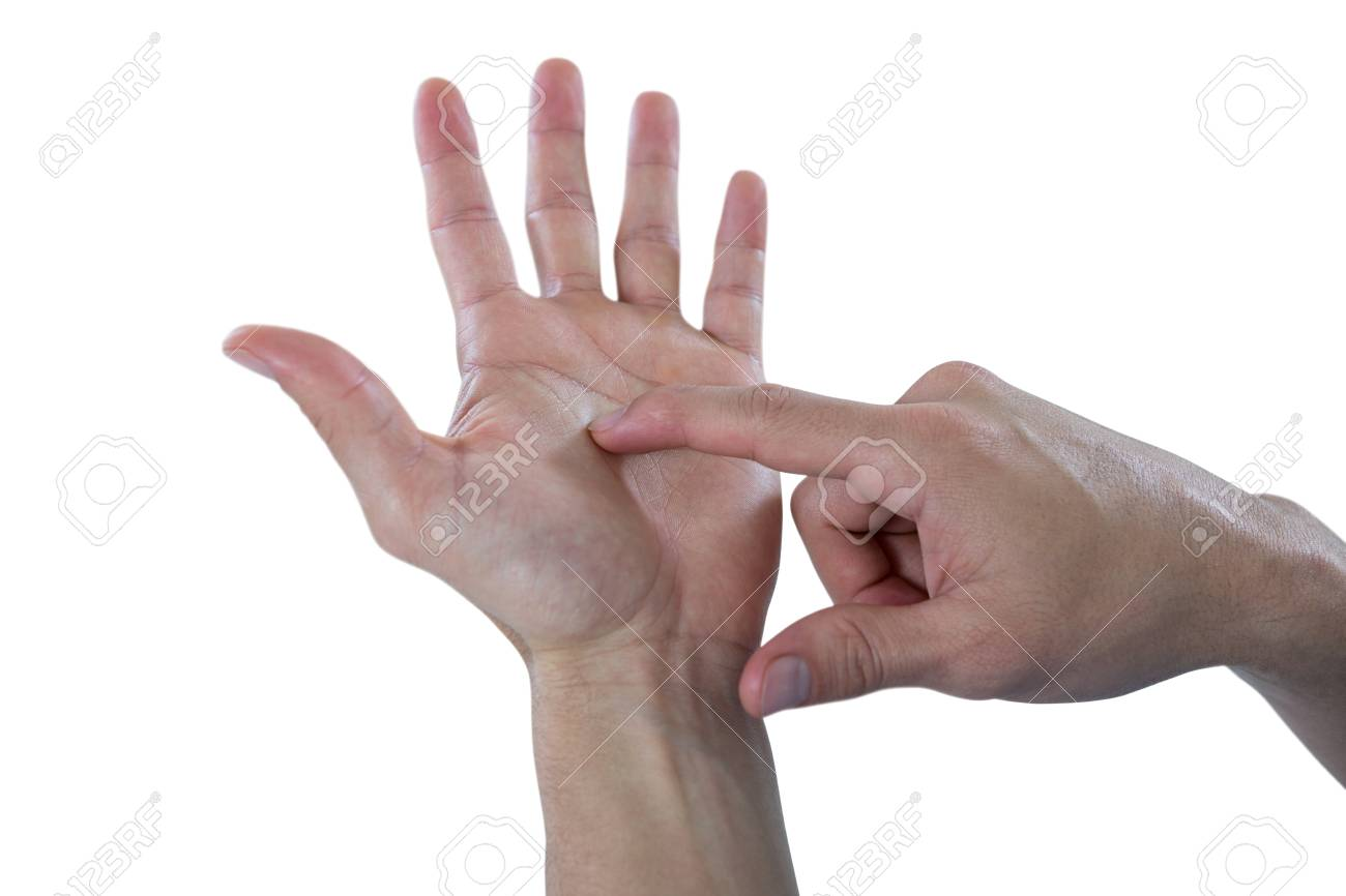 Man Hand Pretending To Use An Invisible Phone Against White