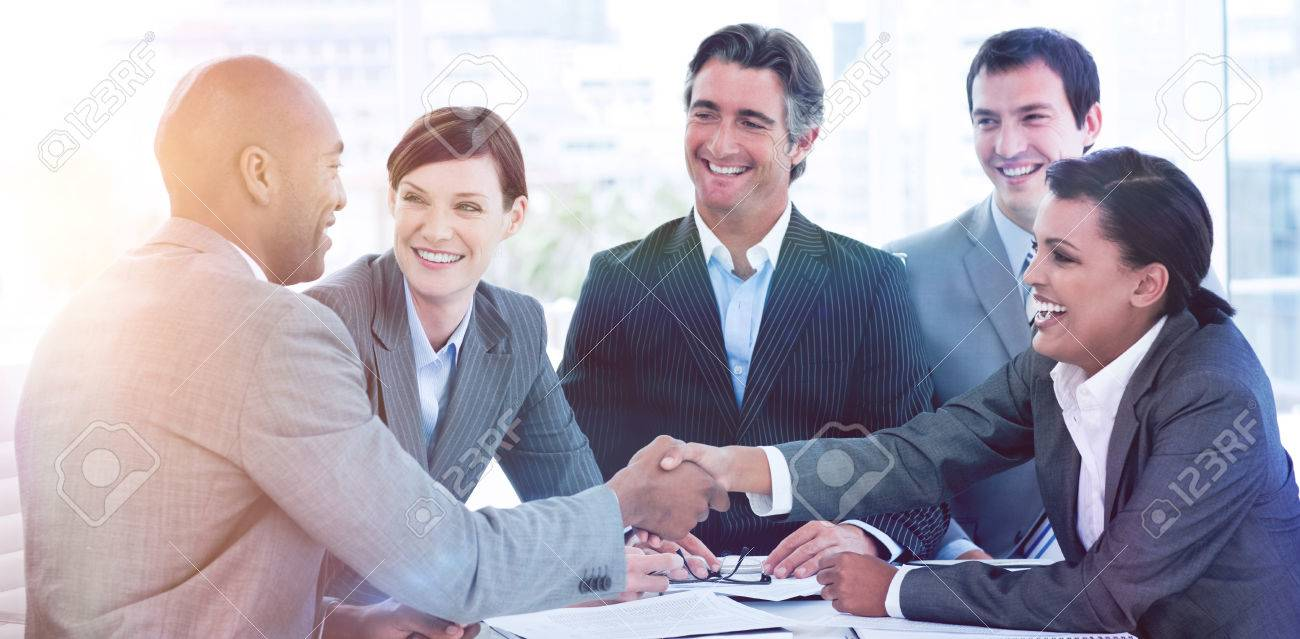 Business people greeting each other in a meeting stock photo business people greeting each other in a meeting stock photo 69612554 m4hsunfo