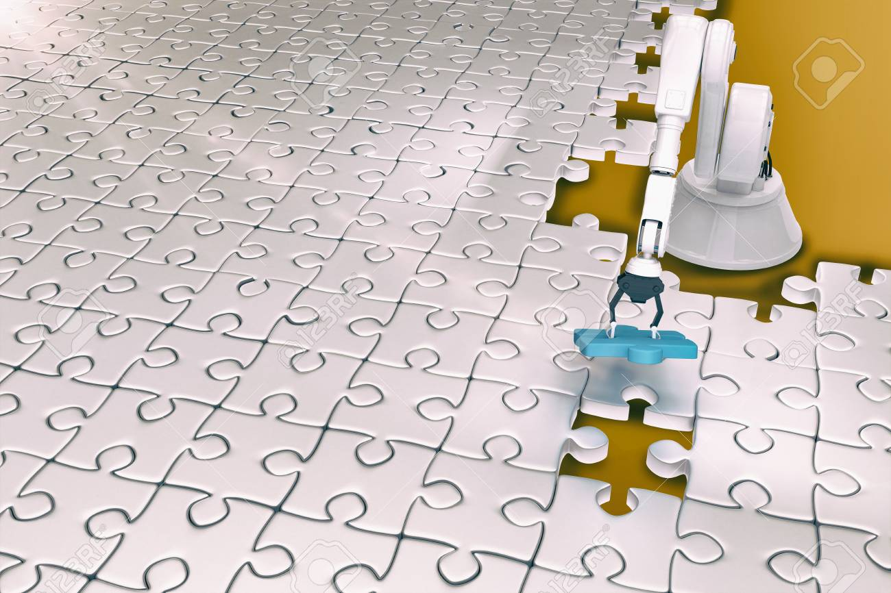 High Angle View Of Robot Setting Up Jigsaw Puzzle 3d Stock Photo