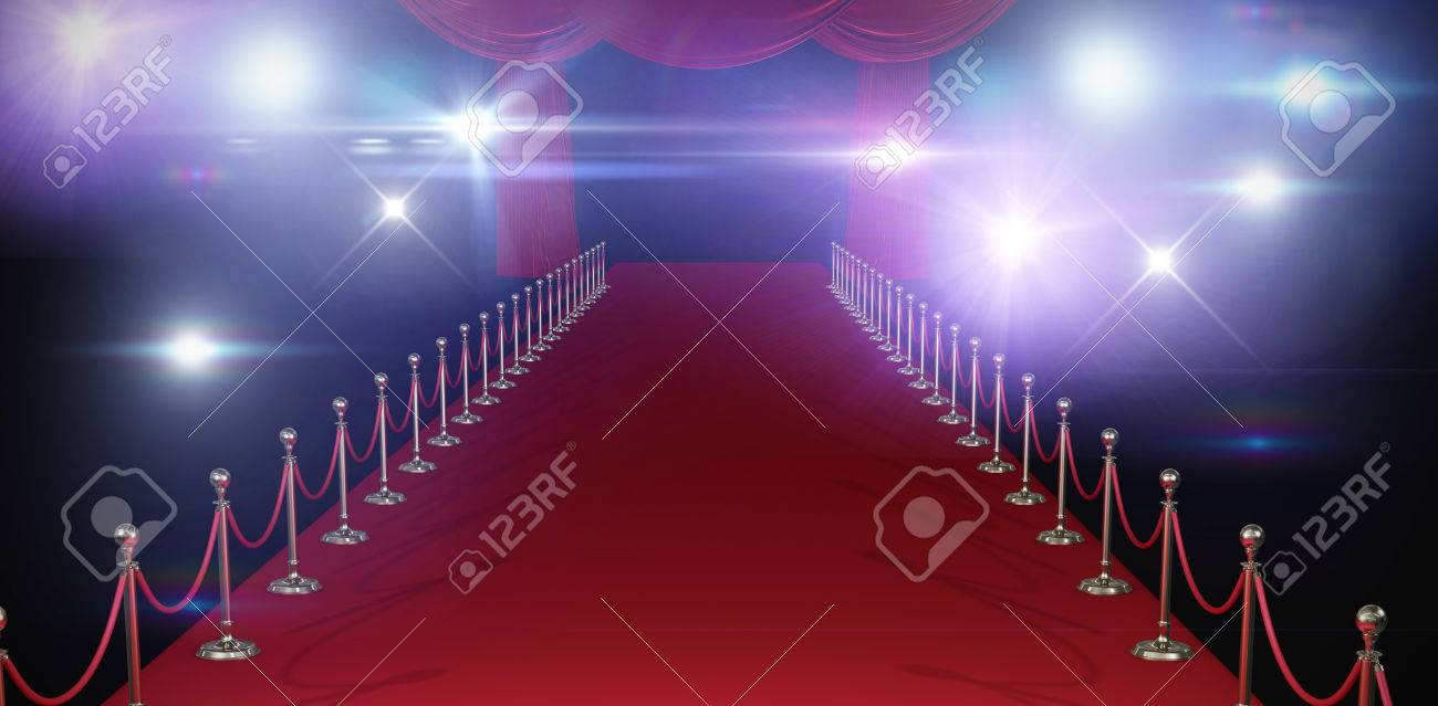 3d Curtains Of Red Color Against Stage Light Against White