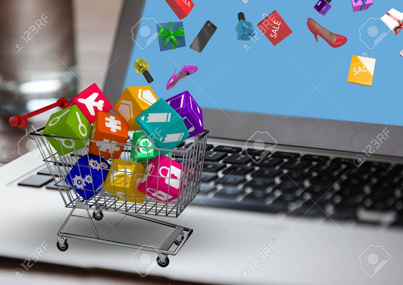 digital composition of trolley with application icons on latop stock