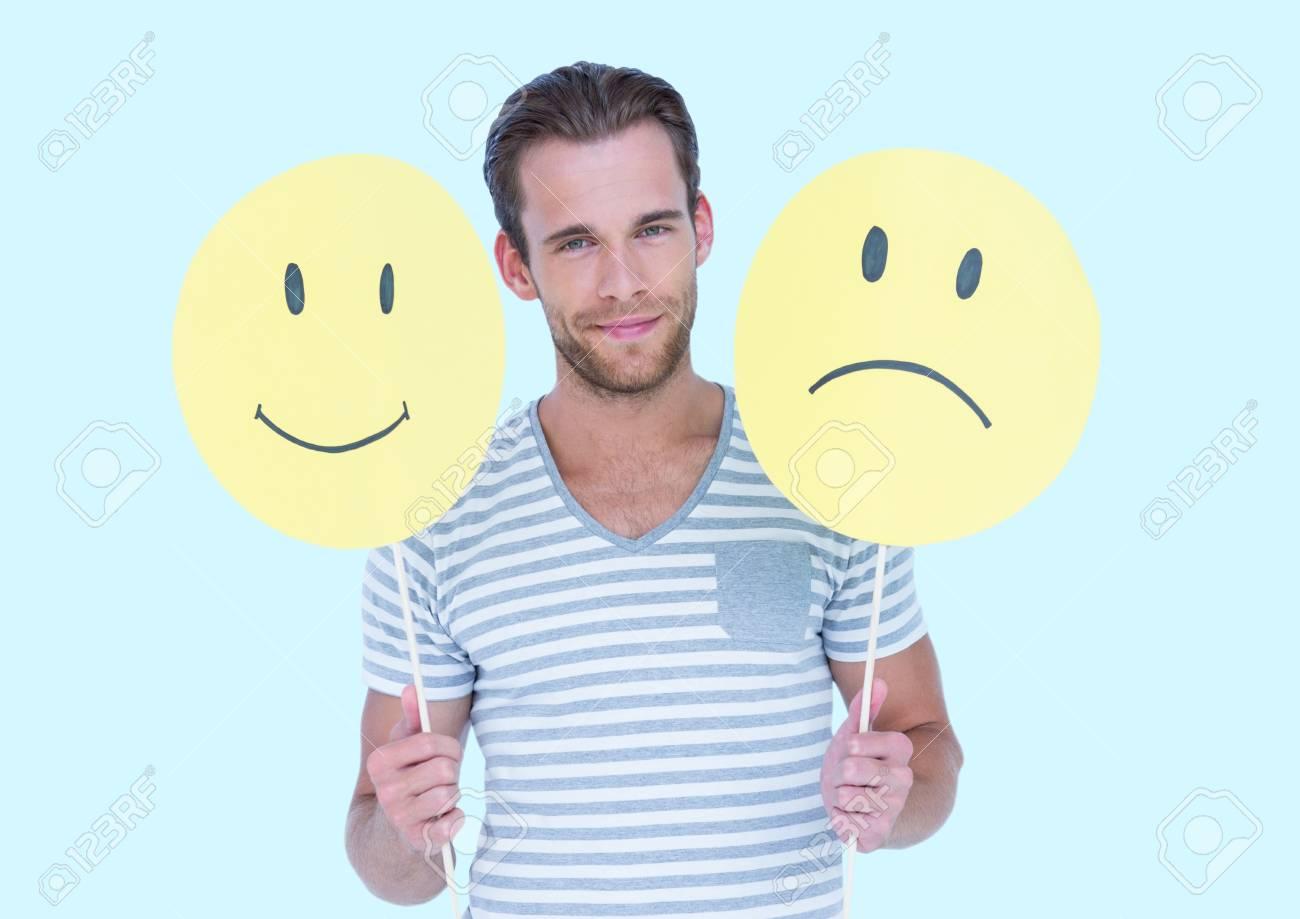Portrat Eines Mannes Mit Einem Smiley Gesicht Und Trauriges Gesicht