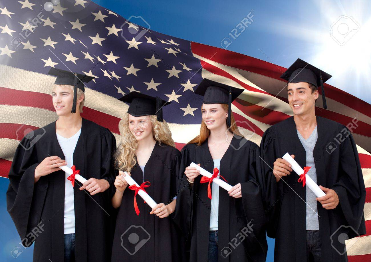 Digital Composition Of People In Graduation Gown Standing Against ...