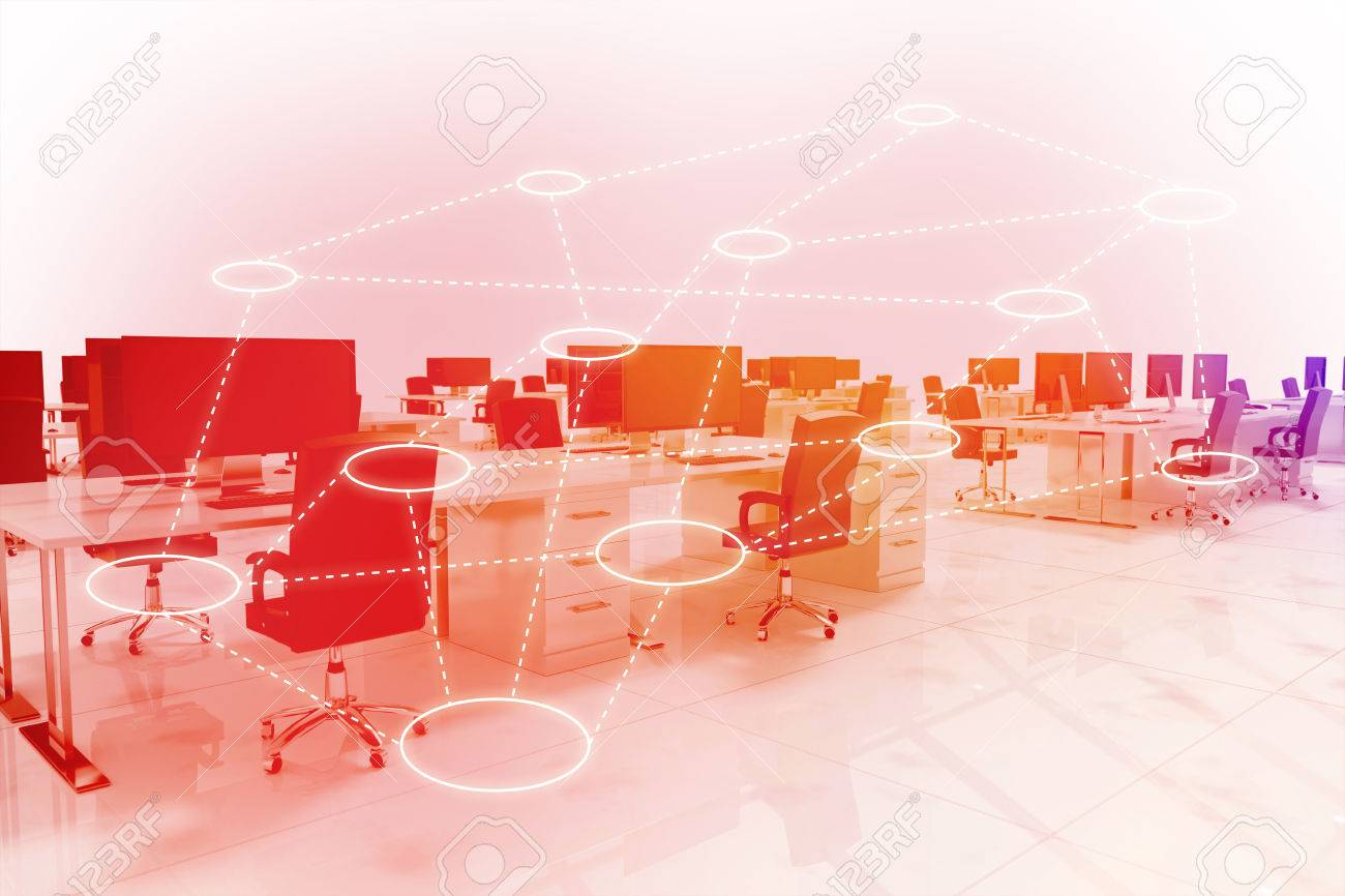 Circles Connected Against White Background Office Furniture 3d Stock Photo