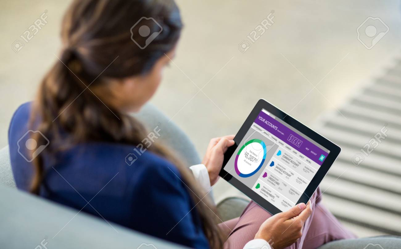 Graphic image of bank account web site against woman using digital