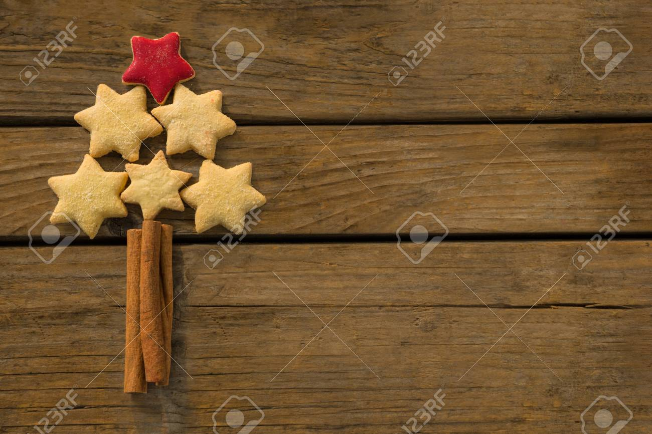 Close Up Of Christmas Tree Made With Star Shape Cookies And Cinnamon