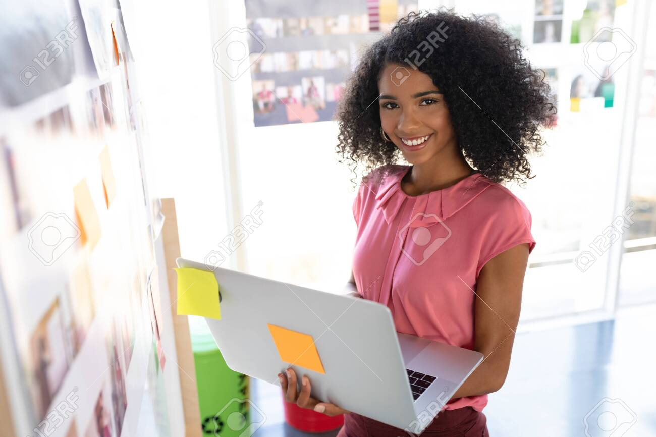 Portrait Of Happy African American Female Fashion Designer Using Stock Photo Picture And Royalty Free Image Image 126956179