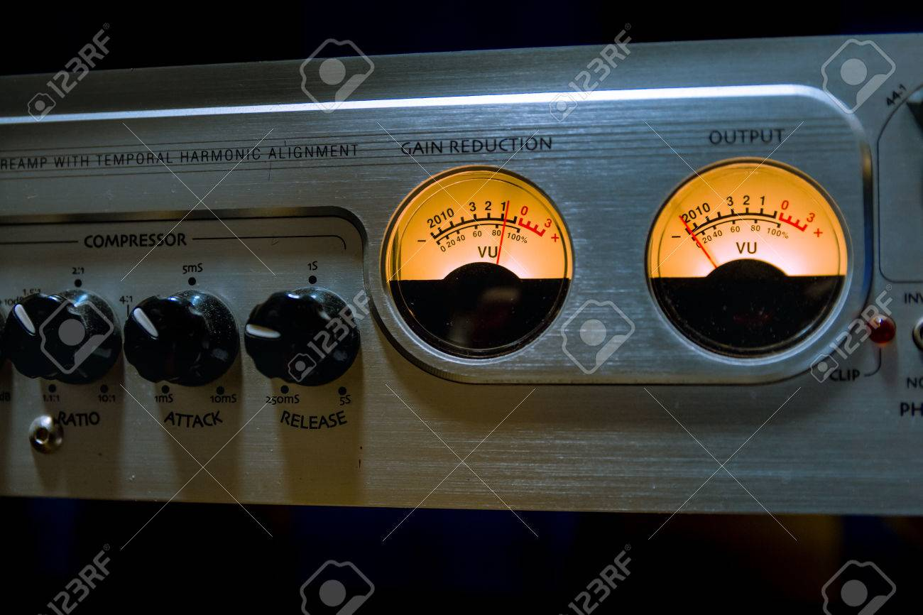 Sound Mixer Equalizer With Many Buttons And Vu Meter In Recording How To Build 2 Studio Stock Photo