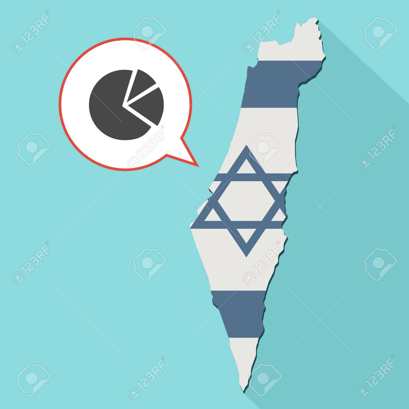 Animation Of A Long Shadow Israel Map With Its Flag And A Comic