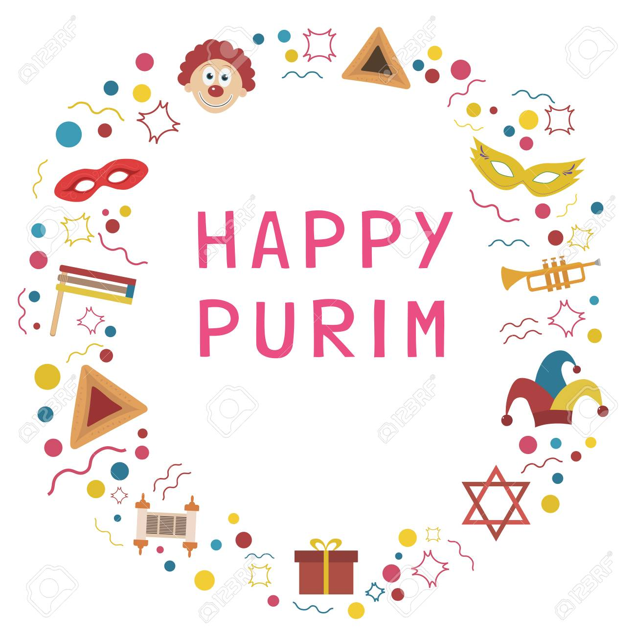 Frame With Purim Holiday Flat Design Icons With Text In English ...