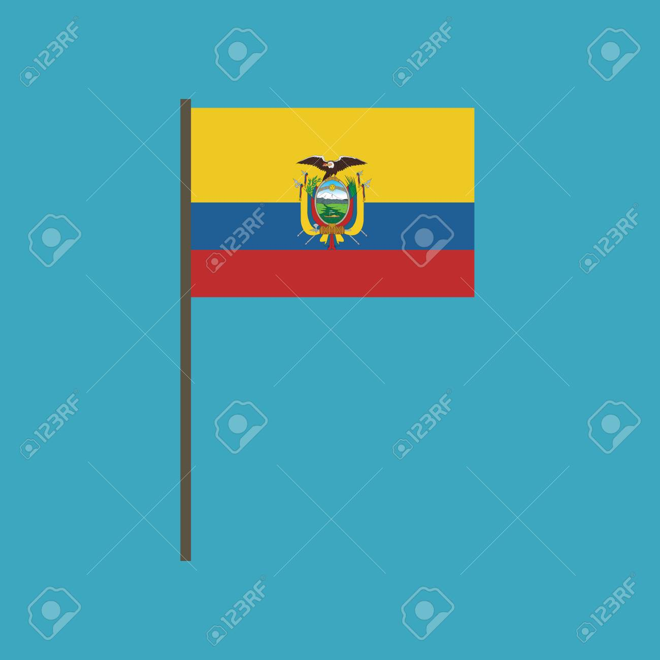 Ecuador flag icon in flat design. Independence day or National day holiday concept. - 112314421