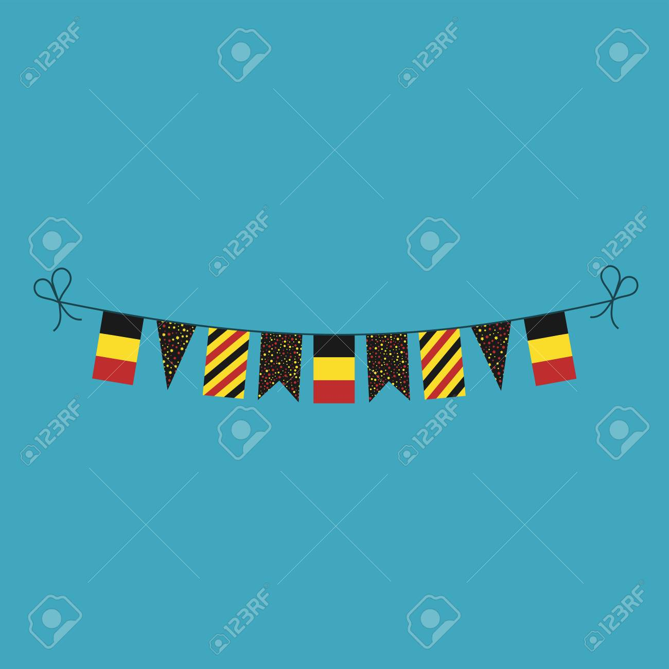 Decorations bunting flags for Belgium national day holiday in flat design. Independence day or National day holiday concept. - 126462009