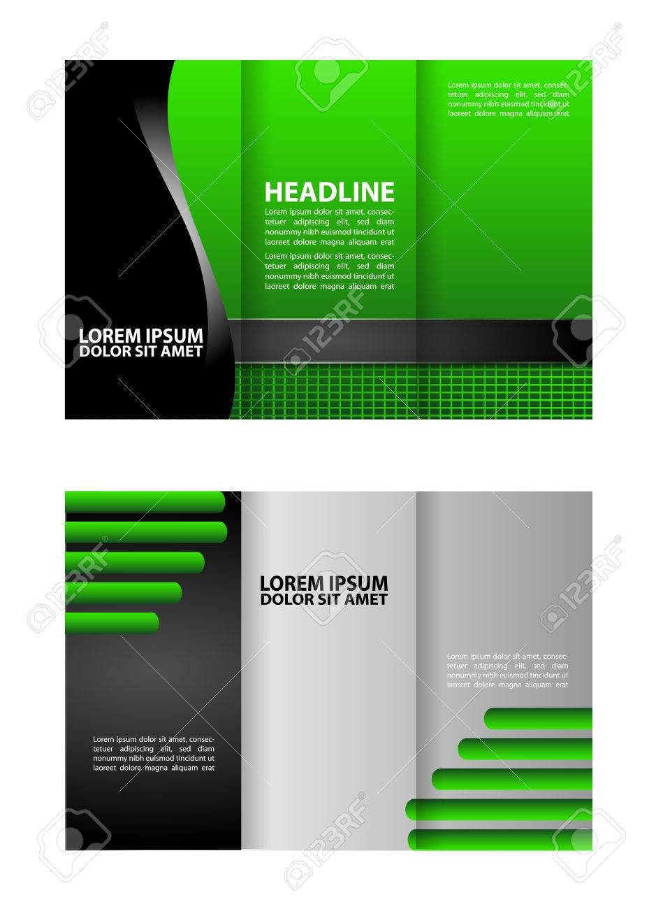 Trifold Brochure Template Design Empty Vector Royalty Free - Tri brochure template