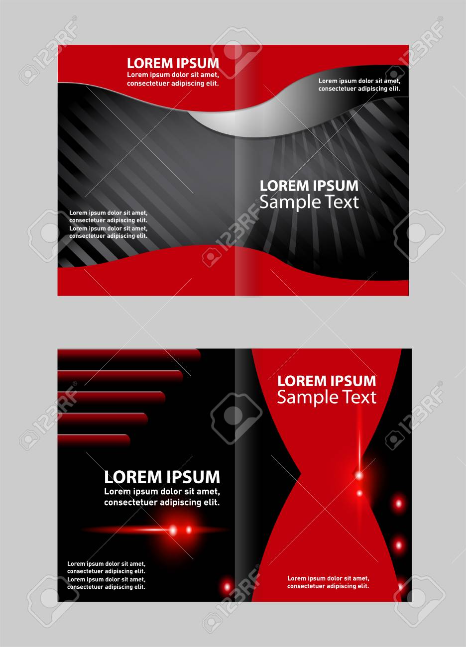 Bi Fold Brochure Template Empty Design With Red Color, Booklet Stock Vector    54083530
