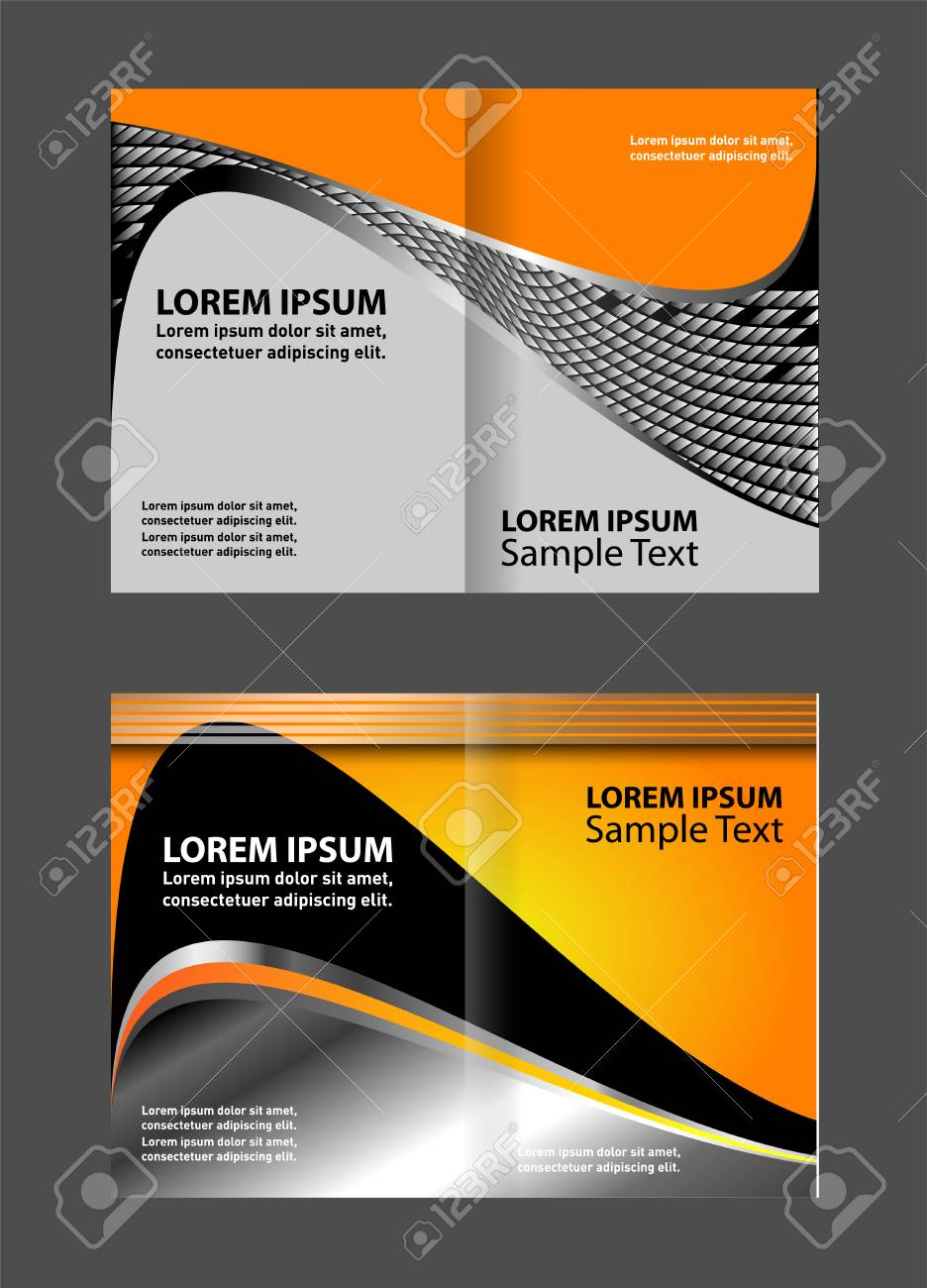 Bi-fold Broschüre Vorlage Leere Design Mit Roter Farbe, Heft ...