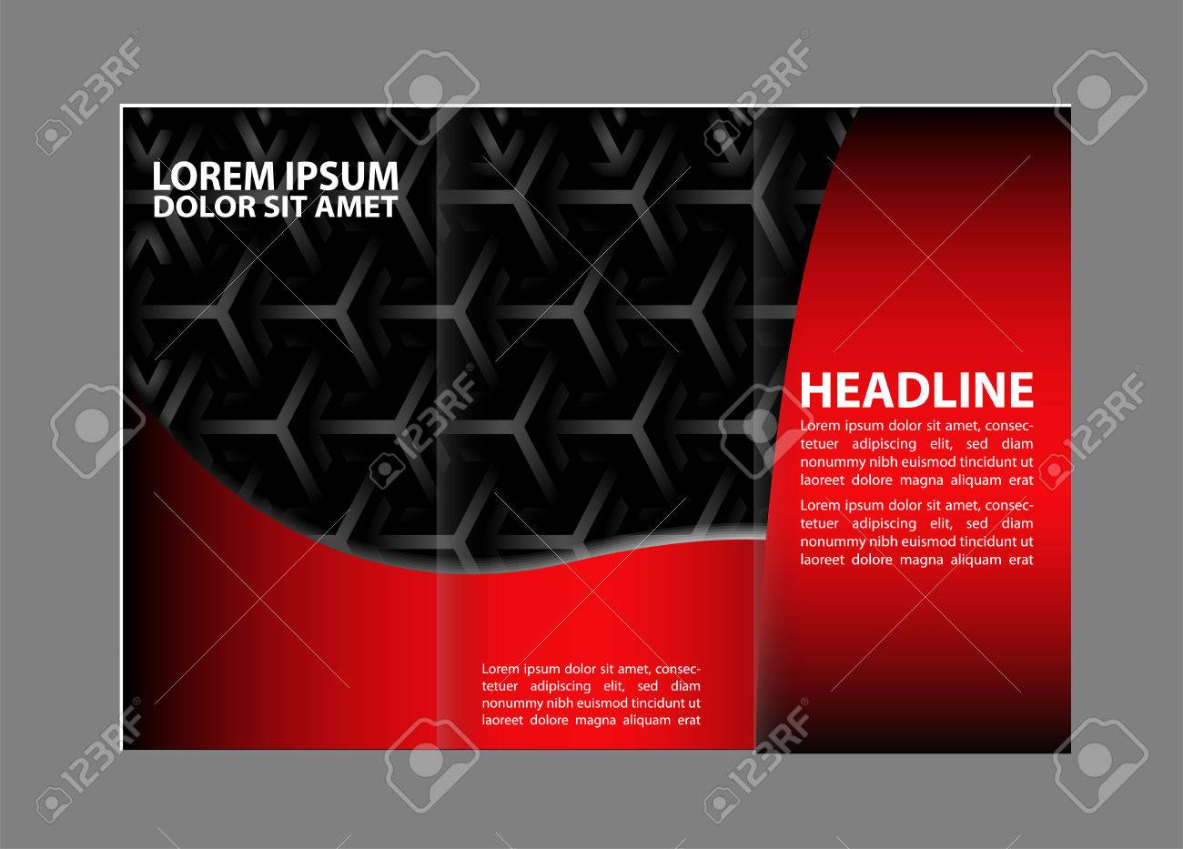 Vector Red And Black Trifold Brochure Design Template With - Tri fold brochure design templates
