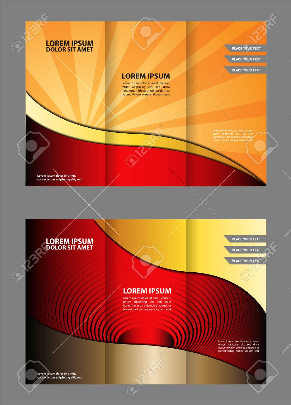 trifold brochure template with blue design of polygons editable