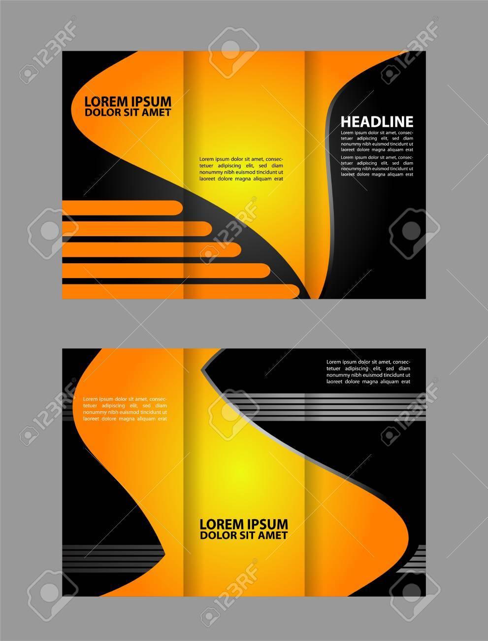 tri fold brochure template design with orange color stock vector 59490282