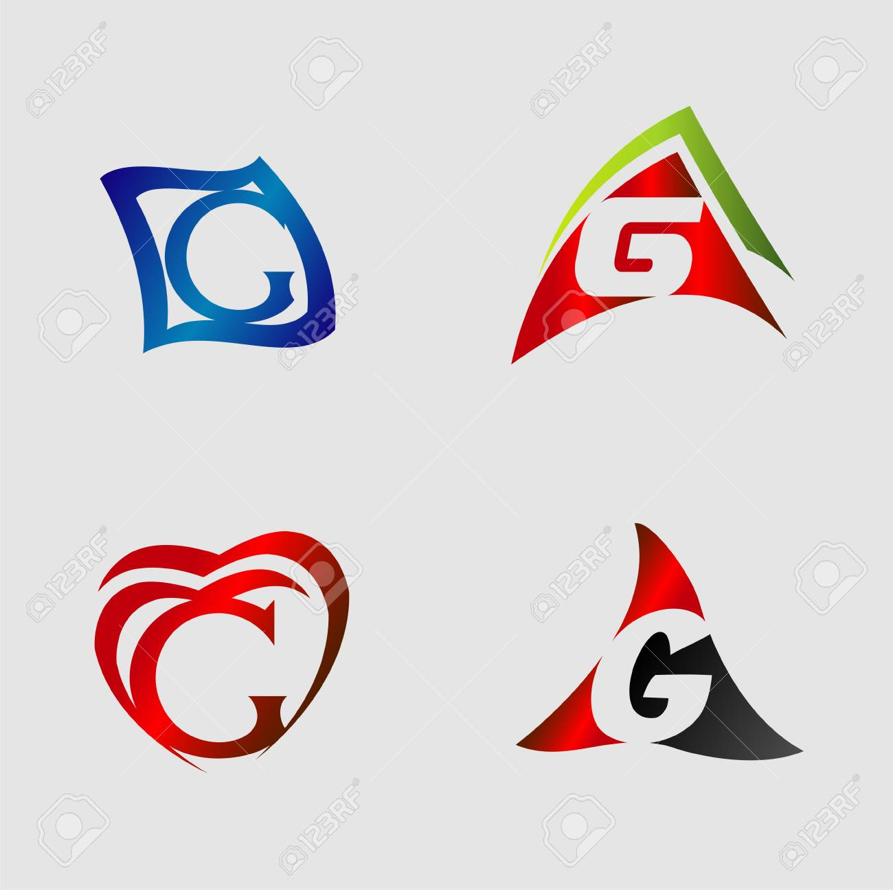 Set Of Alphabet Symbols And Elements Of Letter G Royalty Free