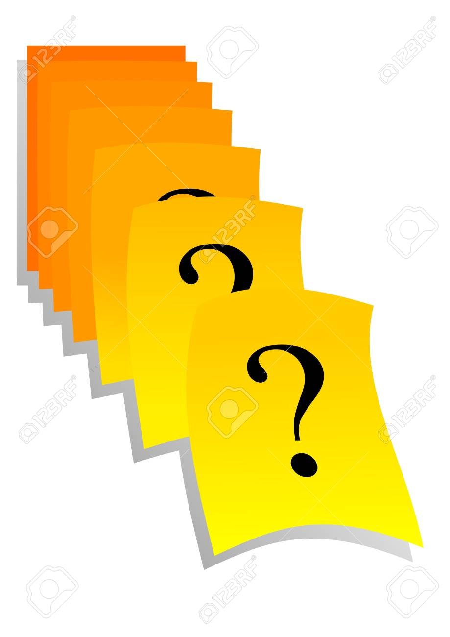 Question marks on yellow reminder stickers Stock Vector - 17526722