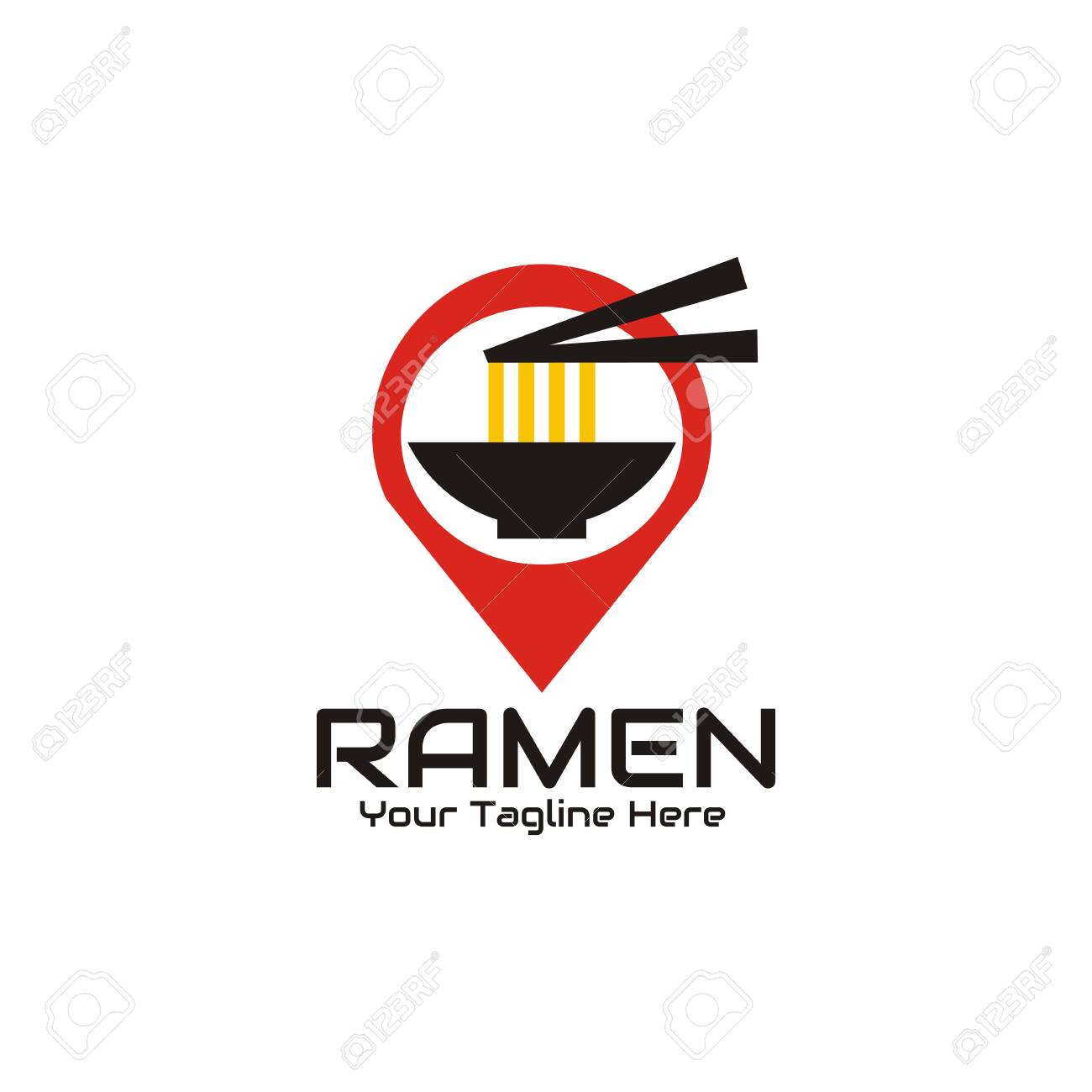 Illustration Vector Graphic Of The Ramen Is Taken With Chopsticks On A Bowl With A Location Symbol Or Gps Background Perfect For Ramen Noodles Fast Food Restaurant Cafe Bar Etc Ilustraciones Vectoriales