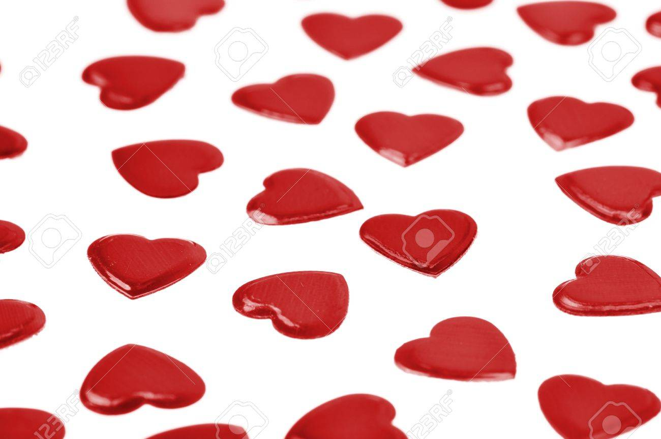 Red hearts confetti isolated on white background Stock Photo - 8568445