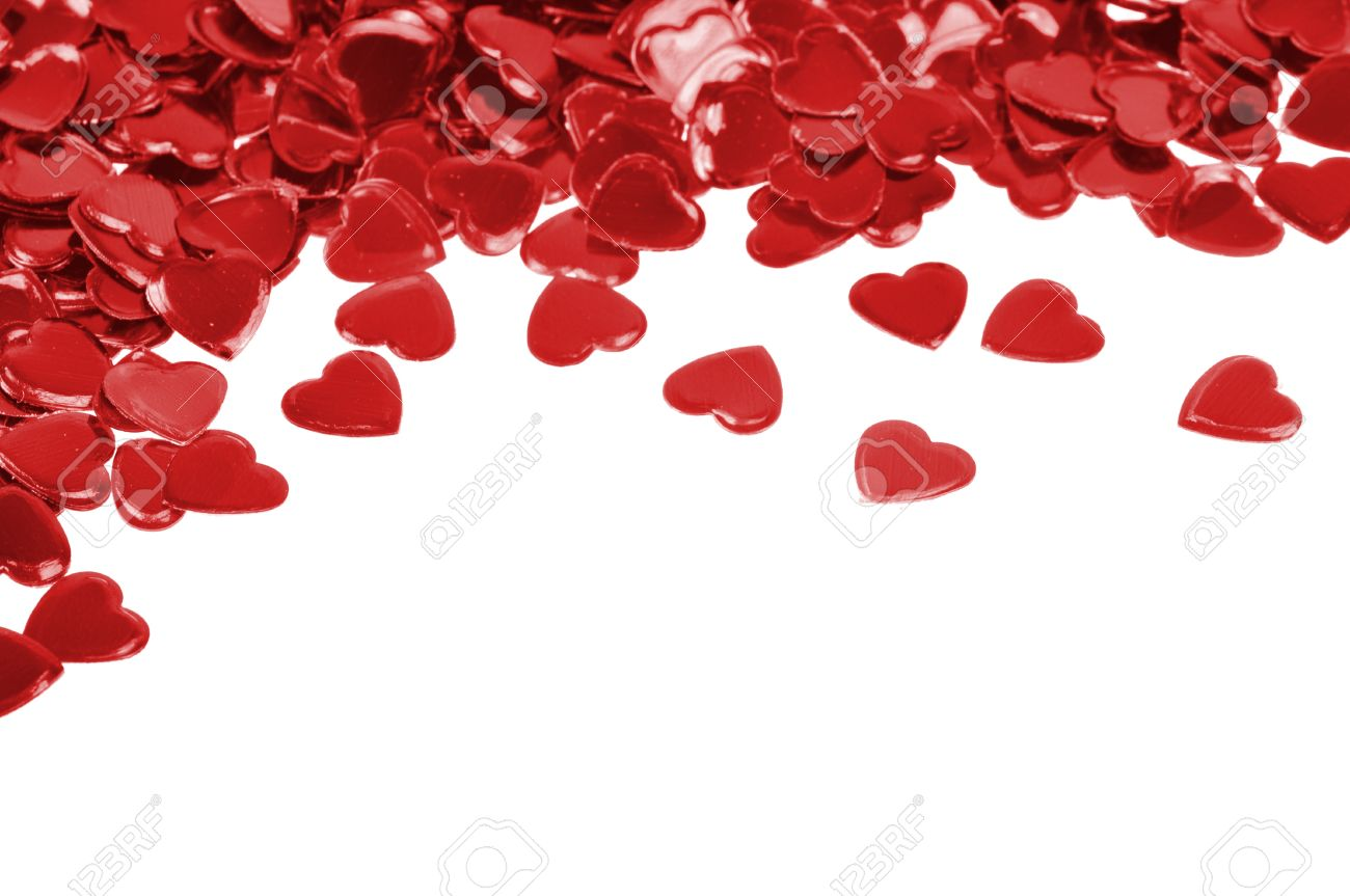 Red hearts confetti isolated on white background Stock Photo - 8568447