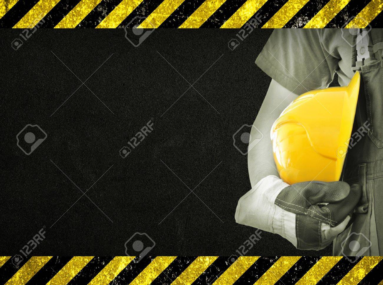 Worker and dark texture in background Concept of OSH occupational safety and health - 18211305