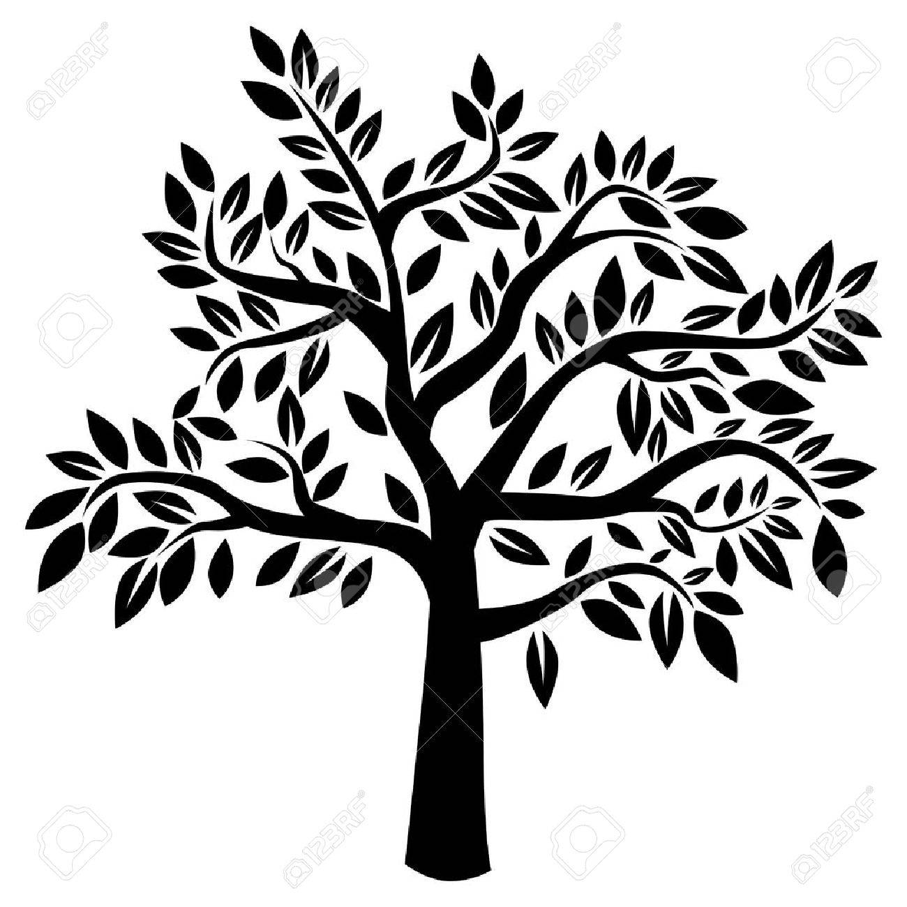 Silhouette of tree on white background  Vector illustration Stock Vector - 19420008