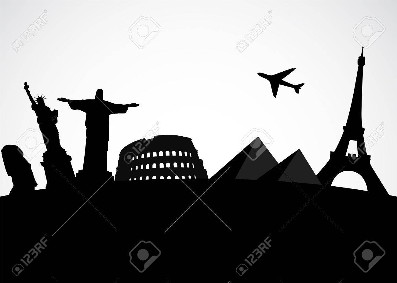 Illustration of world famous monument Vector tourist background - 19420006