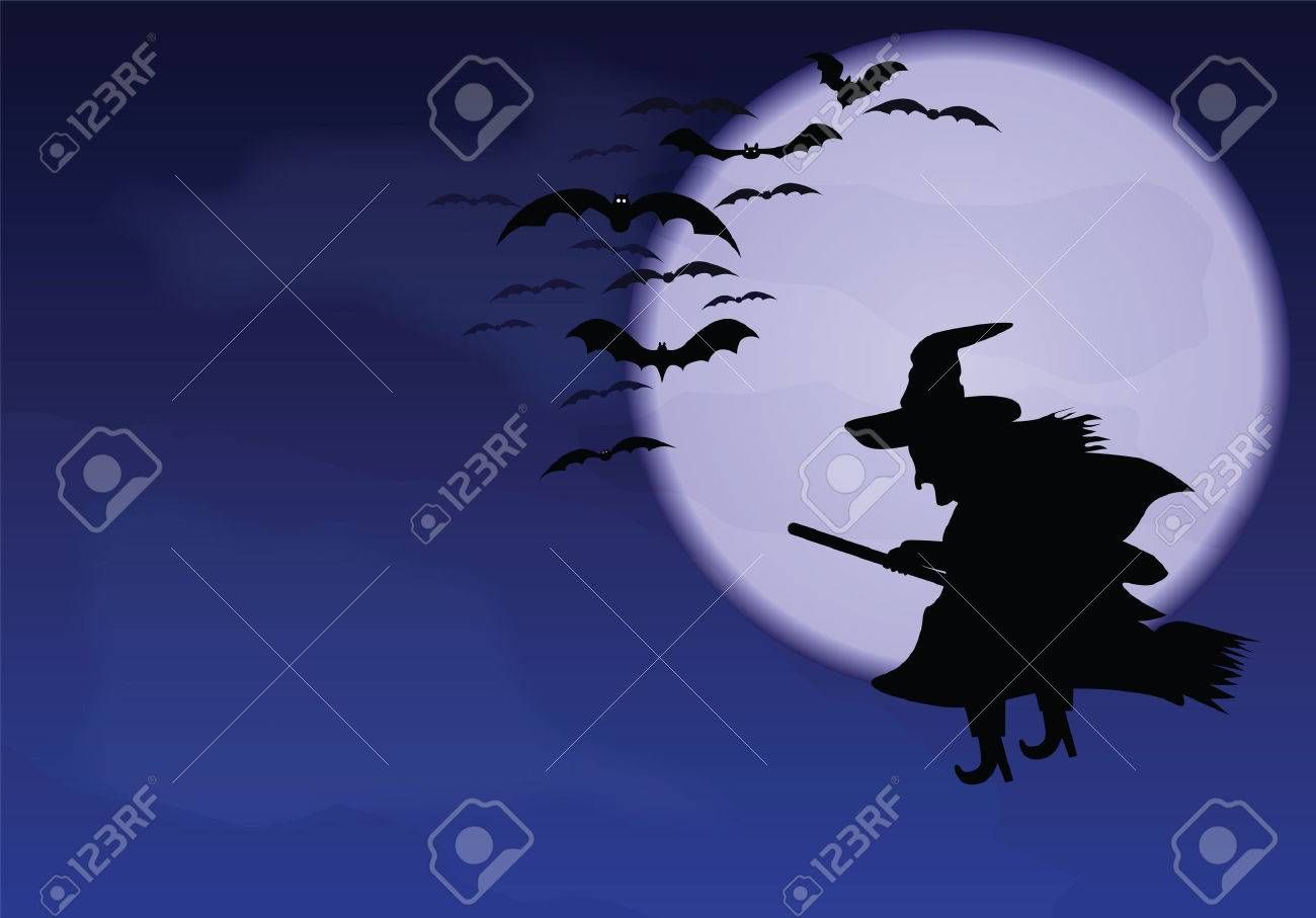 A flying witch and bats on a background of the moon - 22561633