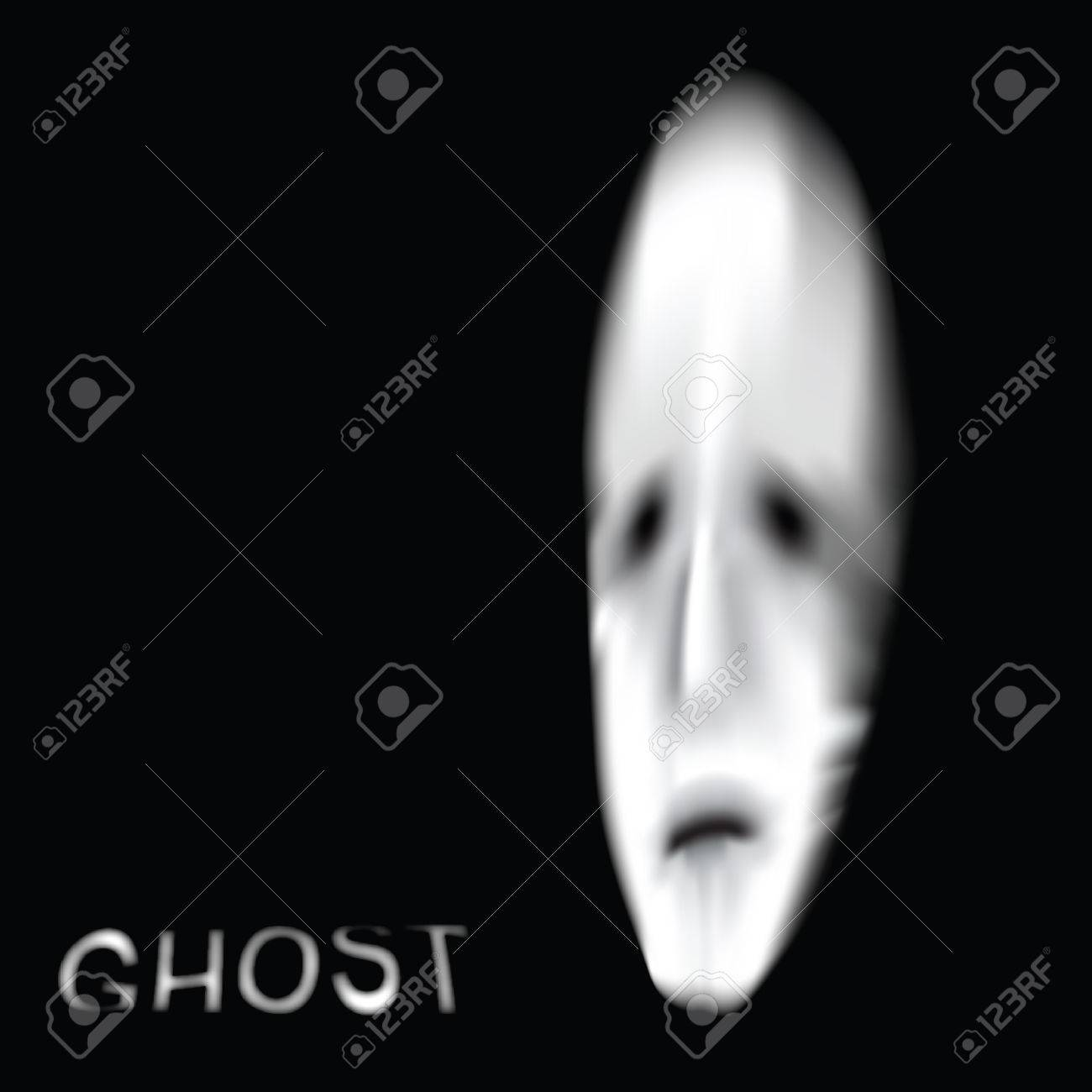 Ghost or alien face illustration Stock Vector - 23866992