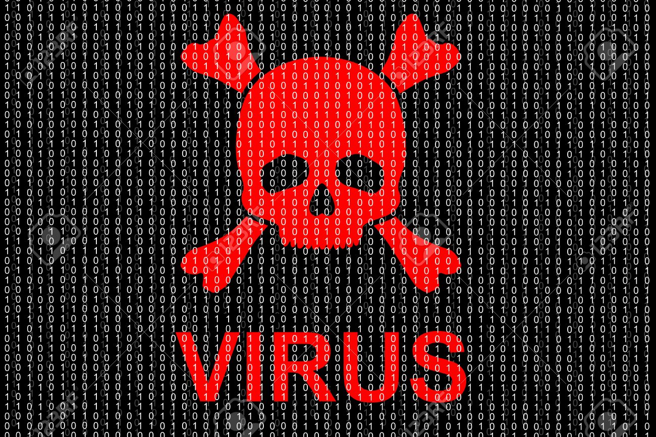 Concept of computer virus. Binary code and red skull. Stock Photo - 24194054