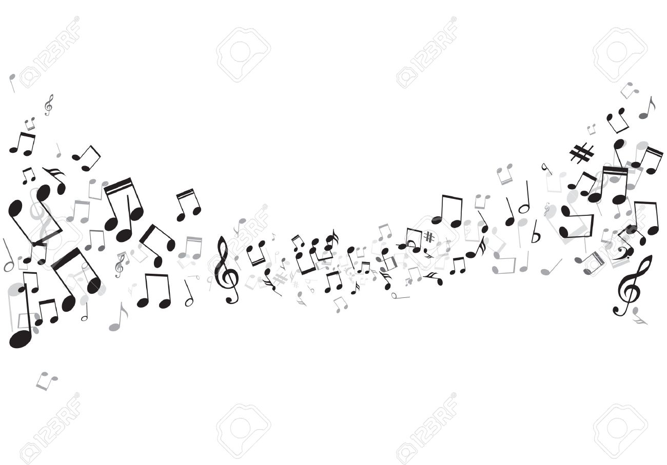 Various music notes on stave, vector illustration - 25236267