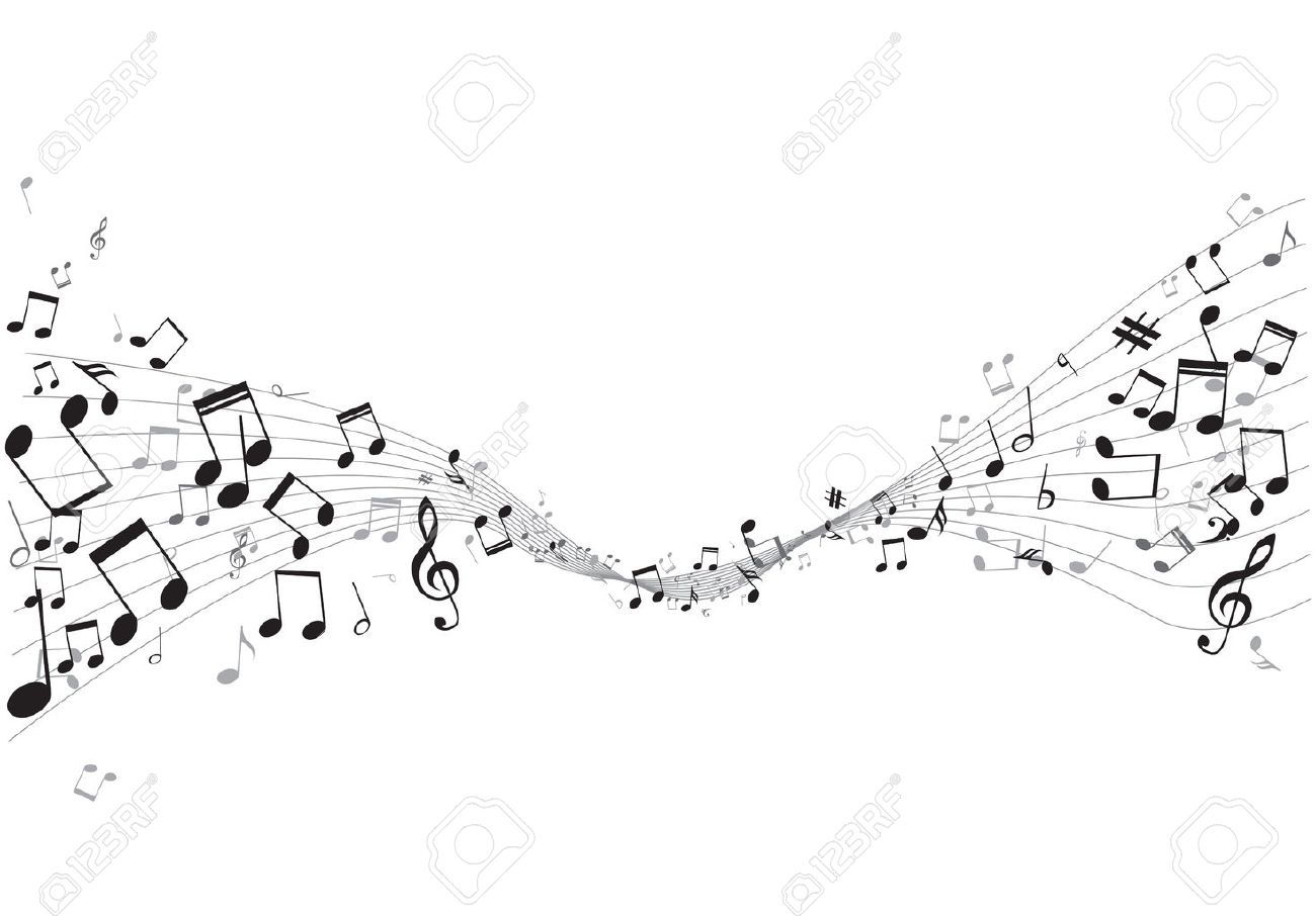 Various music notes on stave, vector illustration - 25237030