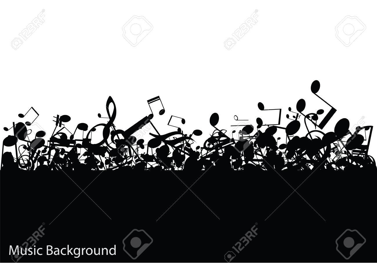 Abstract music with notes, vector illustration - 25496135