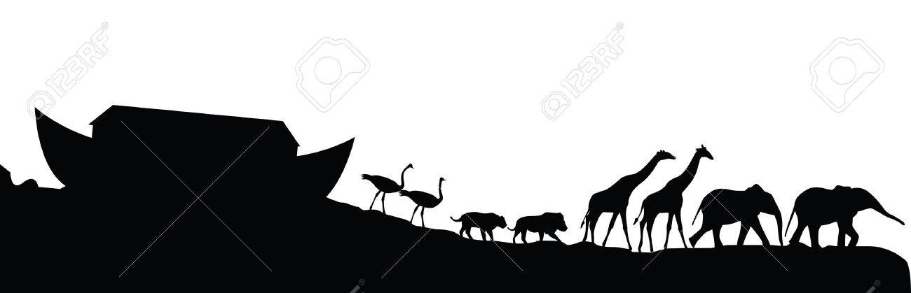 Noah's ark and animals isolated on white, vector illustration - 26559571