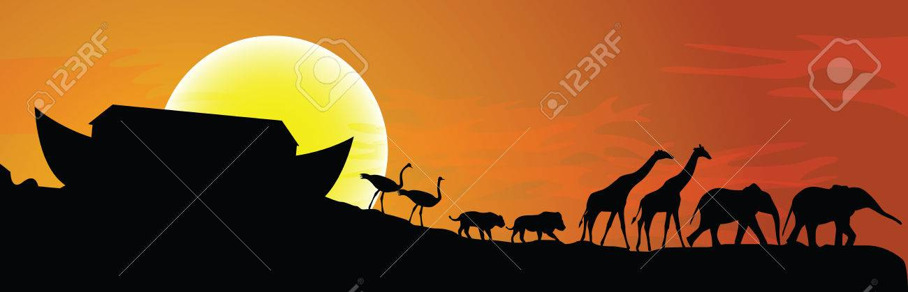 Noah's ark and sunset in background, vector illustration - 26559574