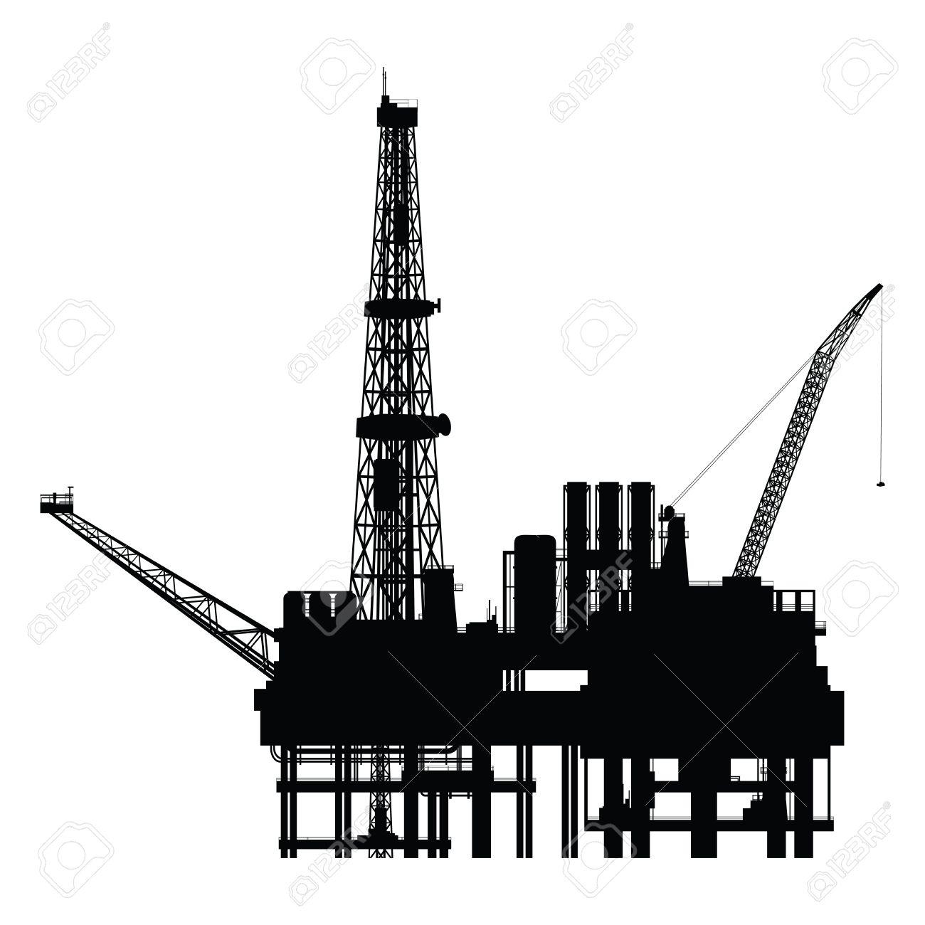 Silhouette of oil platform, vector illustration - 27894974