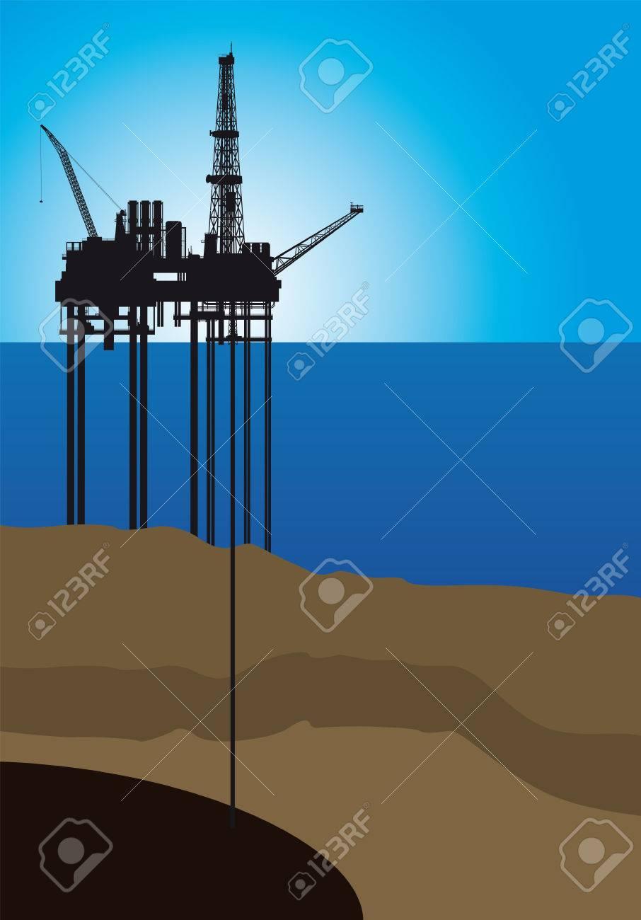 Oil platform on sea, vector illustration - 27903796