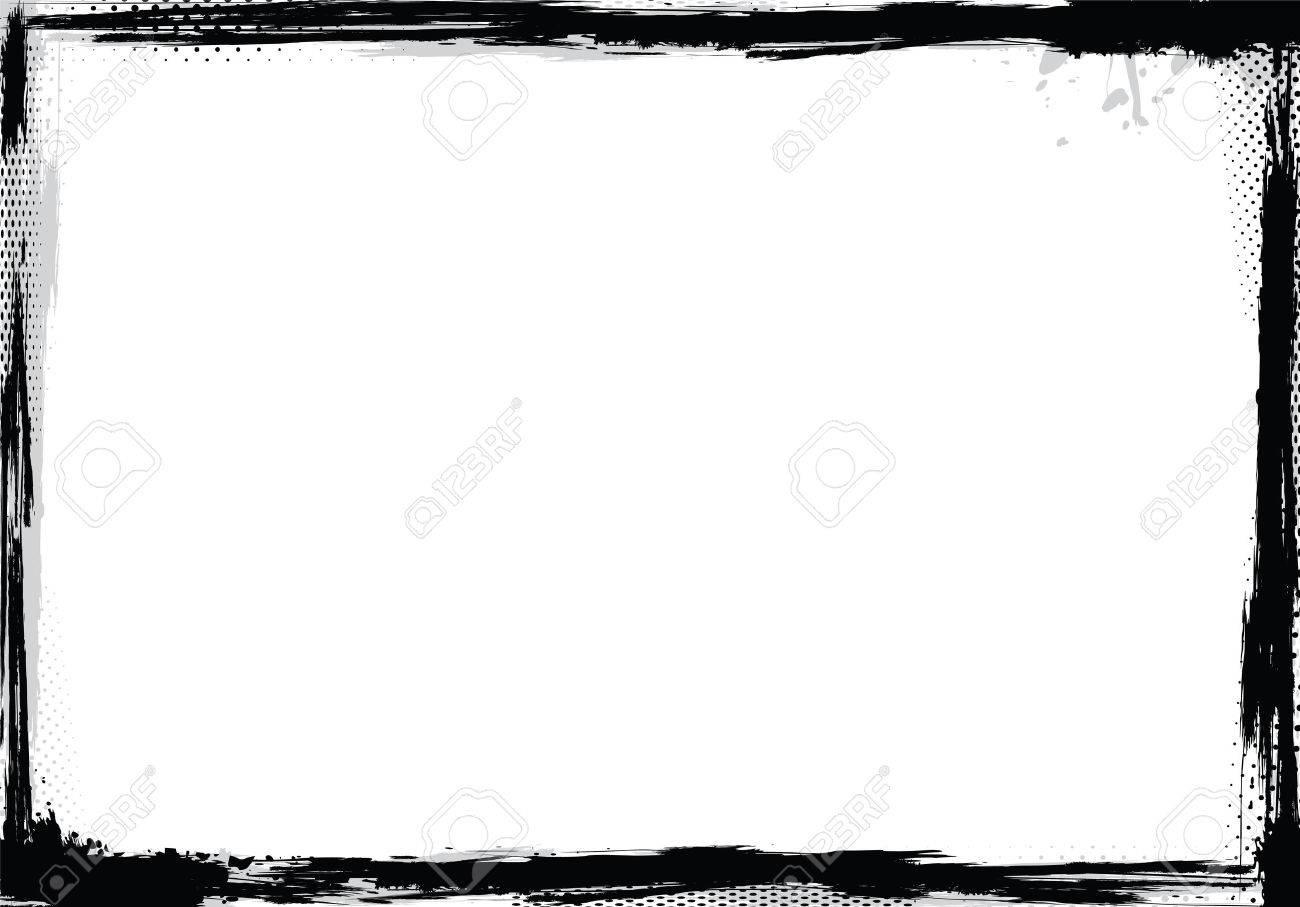 Grunge frame in black and white, vector illustration - 29266387