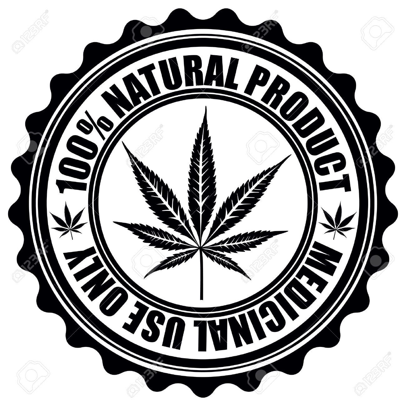 Stamp with marijuana leaf emblem. Cannabis leaf silhouette symbol. Vector illustration - 29266402