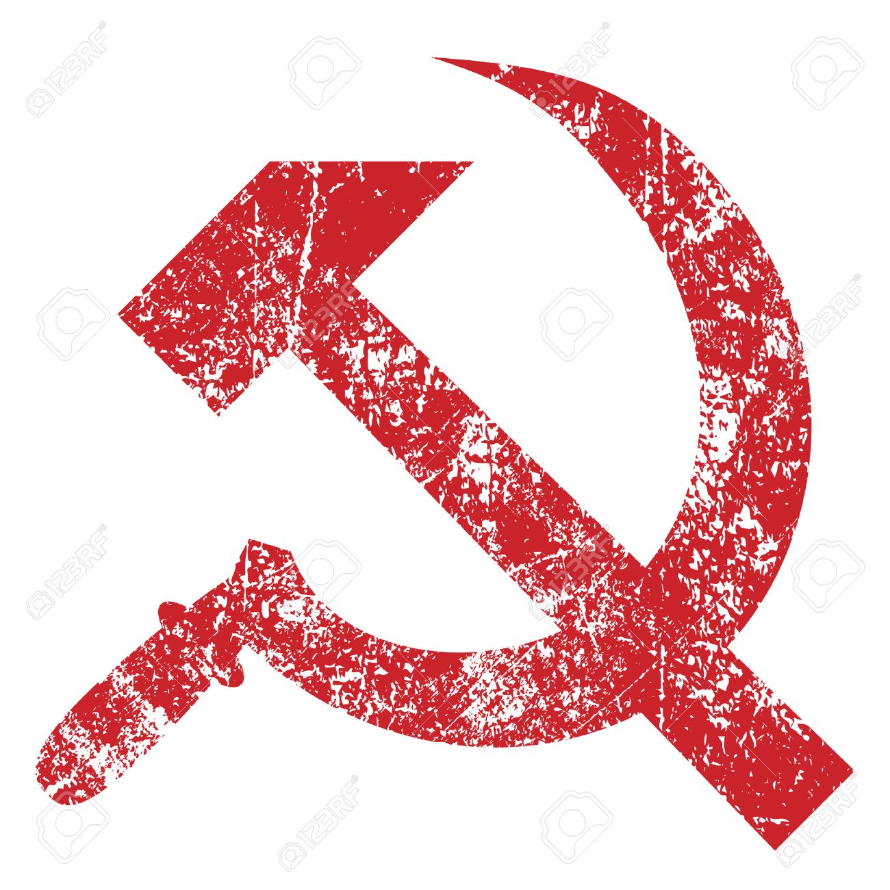 Grunge hammer and sickle isolated on white background, vector illustration - 29860931